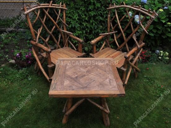 Комплект садовой мебели из дерева – наборный стол, два кресла