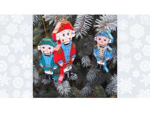 Три Щелкунчика разной раскраски - ёлочные игрушки, подарочный набор