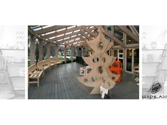 Интерьерное решение для открытой веранды кафе Шардам в парке Музеон