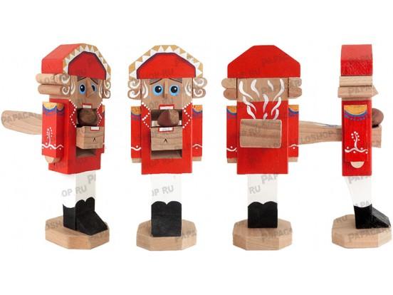 Щелкунчик - орехокол деревянный. Классическая модель. Красный 20 см